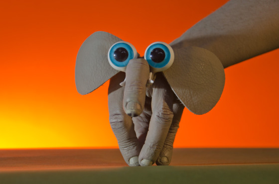 Hand art elephant from PuppetVision: The Movie