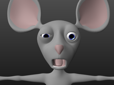 Digital mouse rendered in post by the Panda Puppet Digital Puppetry System