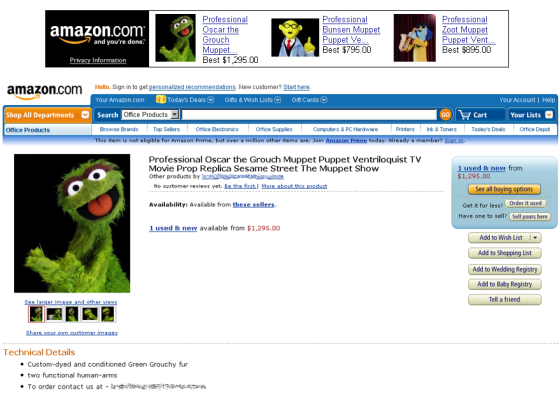 Oscar the Grouch knock-off offered for sale on Amazon