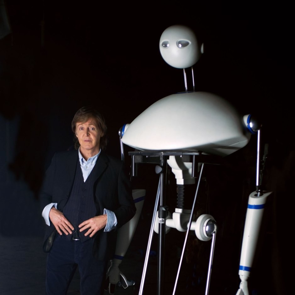 Paul McCartney with his robot, Newman