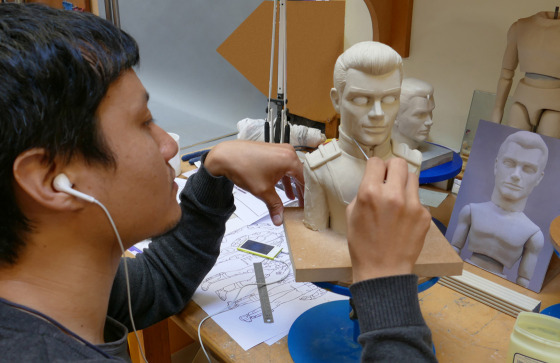 Artist scuplting Sam for Gerry Anderson's Fireball