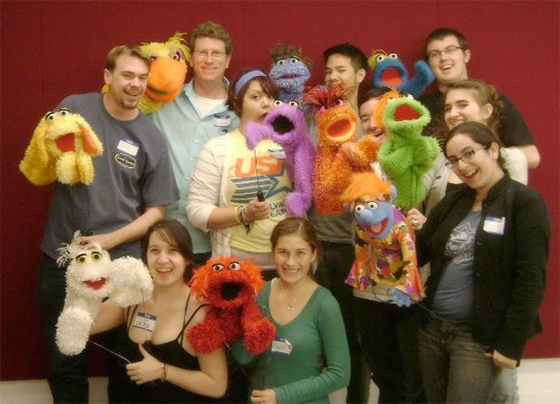 Michael Earl with Puppet School students