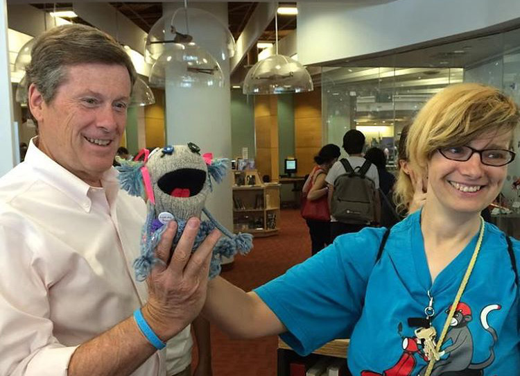 Puppet What What and puppeteer Robin Polfuss with Toronto Mayor John Tory at Maker Festival.